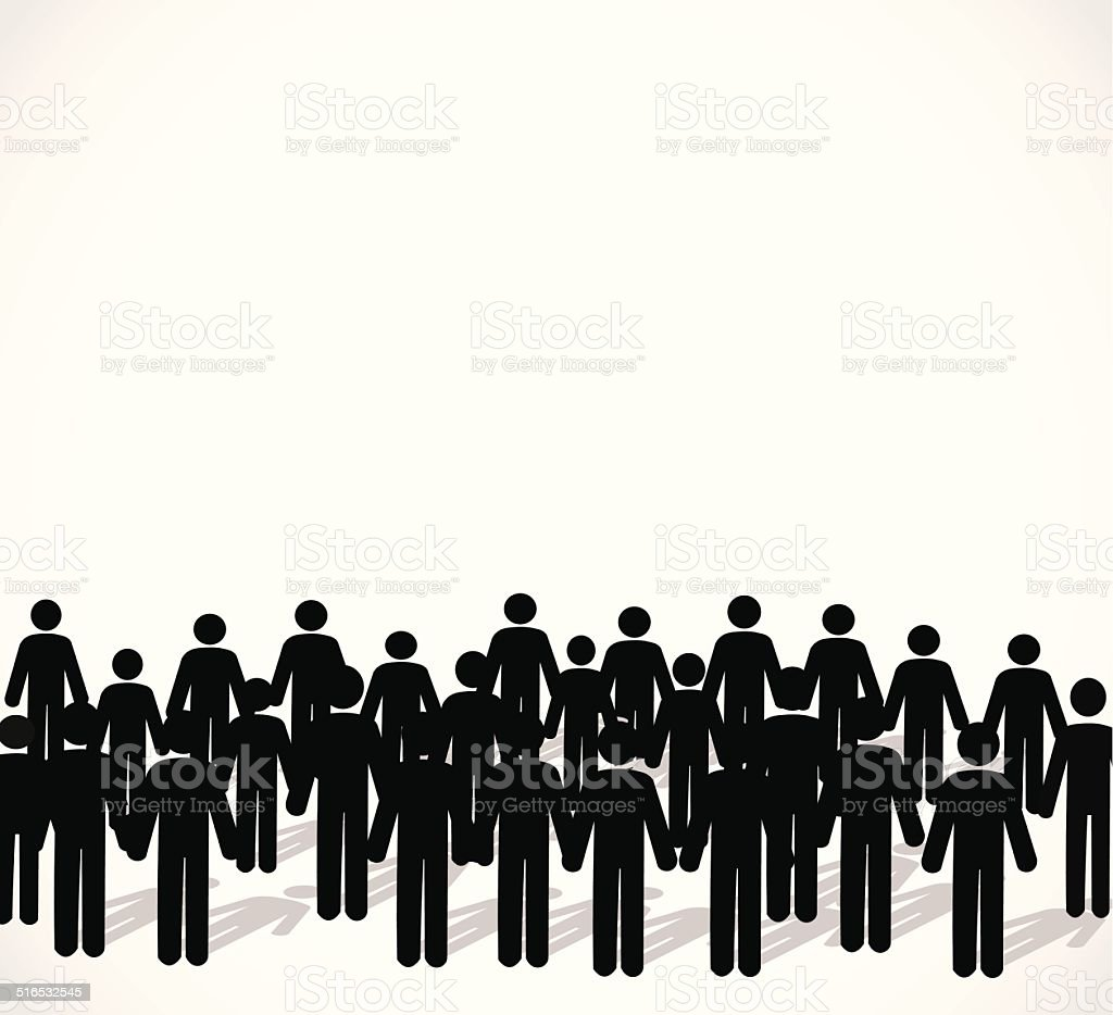Illustration of crowd of people - icon silhouettes vector art illustration