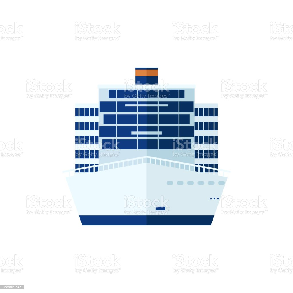 illustration of cruise ship isolated, front view, on white background vector art illustration