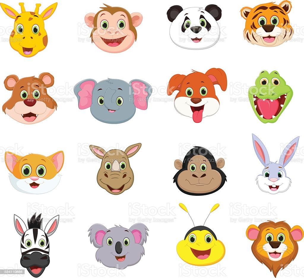 vector illustration of cute animal face cartoon collection
