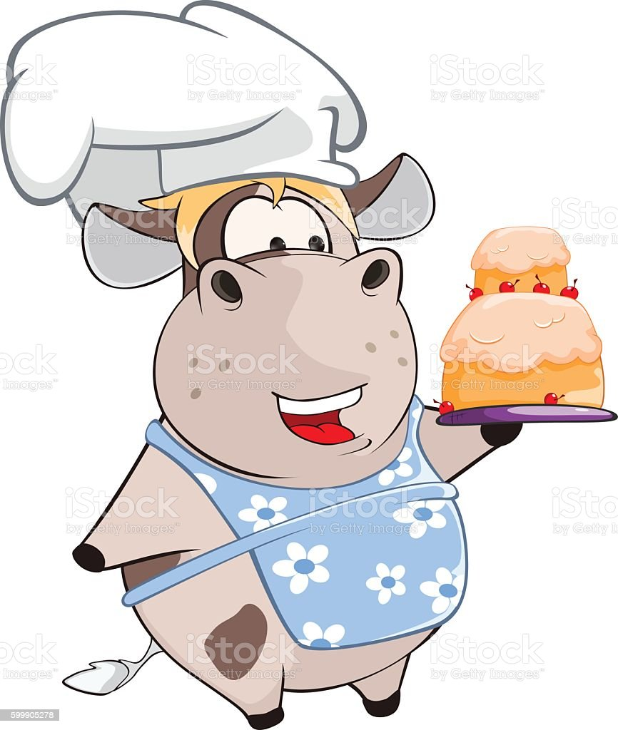 Illustration of Cute Cow Chief Cook Cartoon vector art illustration