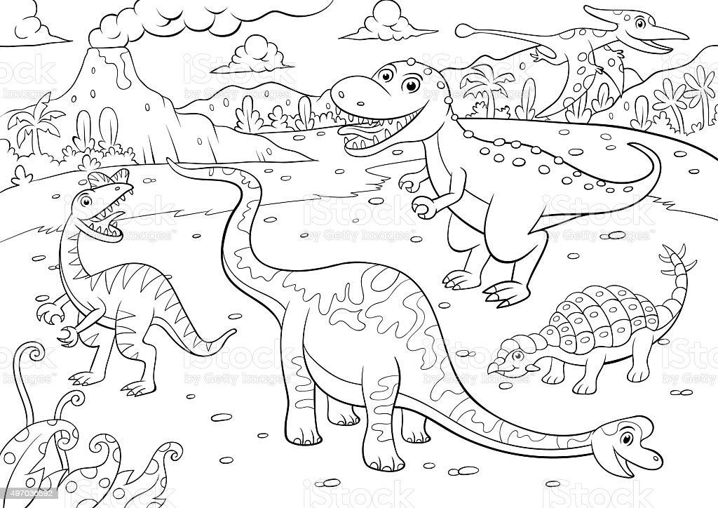 illustration of cute dinosaurs cartoon character for coloring vector art illustration