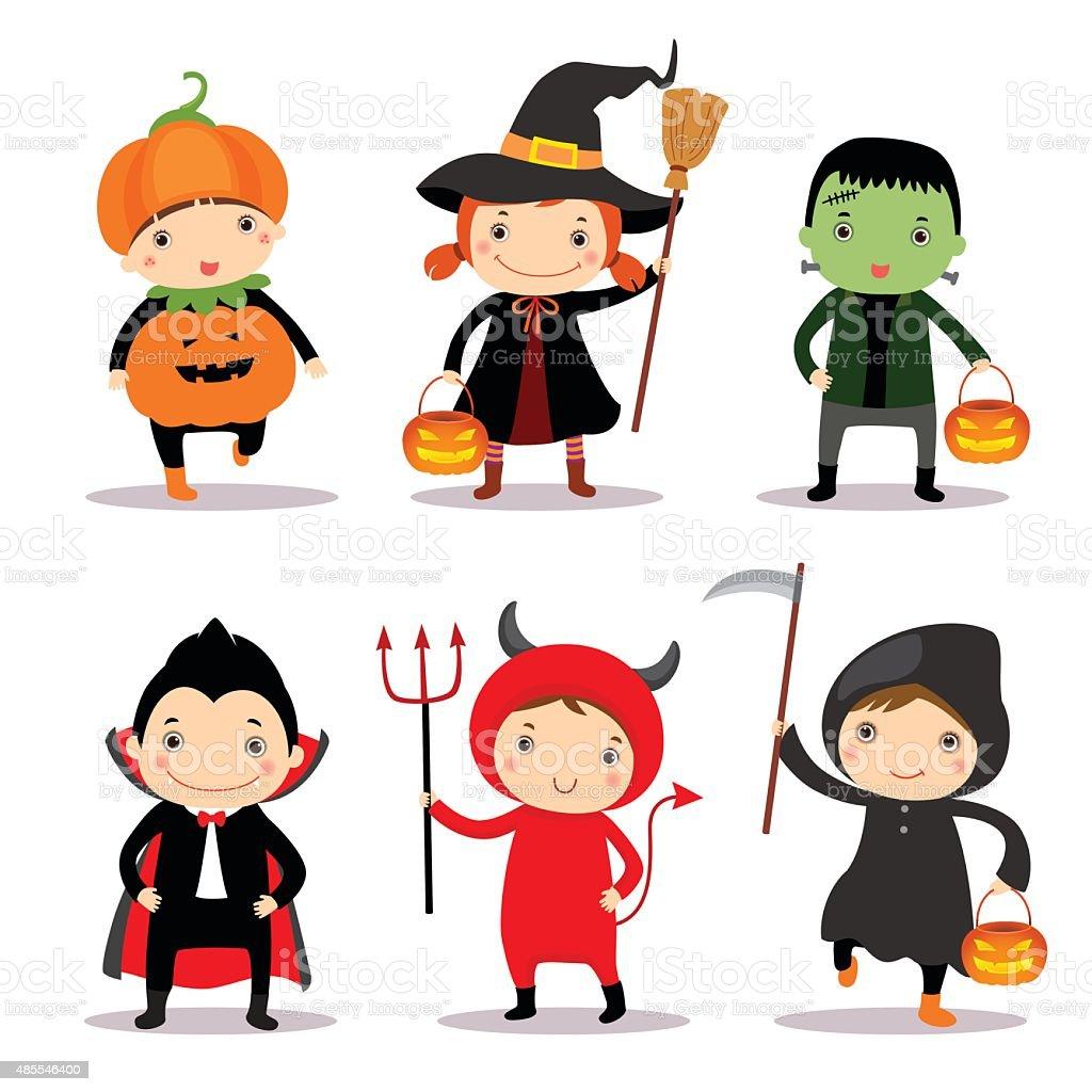 Illustration of cute kids wearing halloween costumes vector art illustration