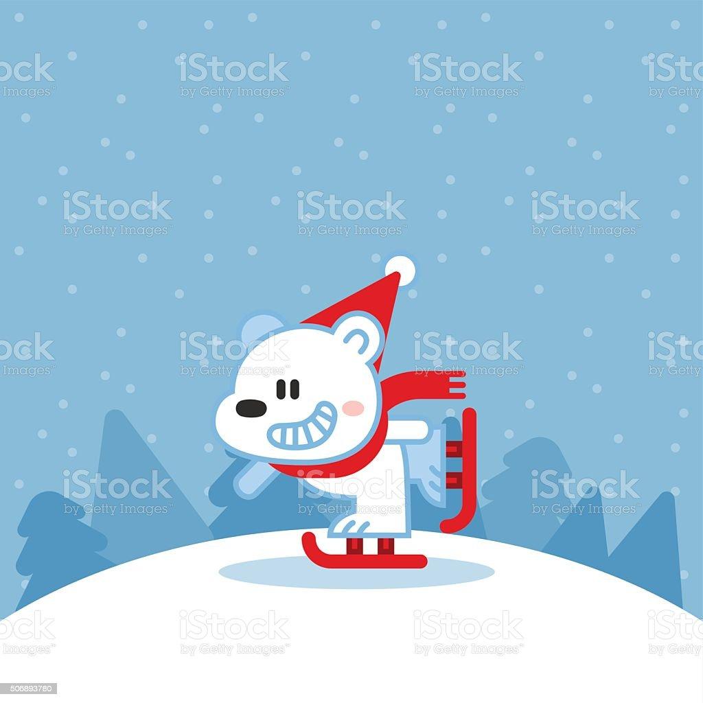 Illustration of cute polar bear on ice skates vector art illustration
