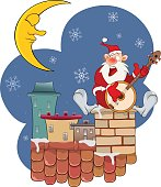 Illustration of Cute Santa Claus on Roof and Banjo