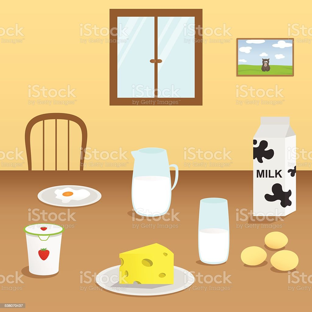 Illustration of dairy products in the dining room vector art illustration