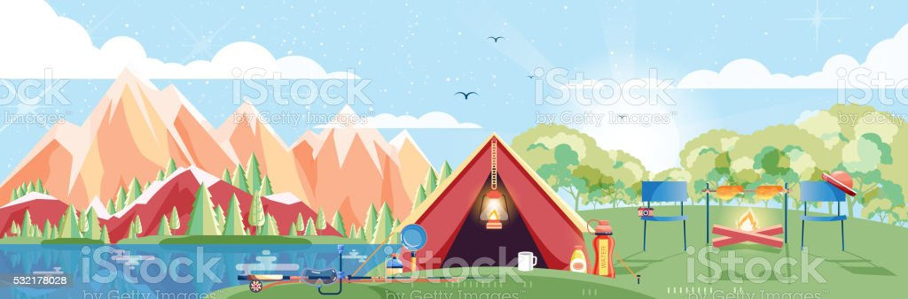 illustration of day landscape, mountains, dawn, travel, hiking, nature, tent vector art illustration