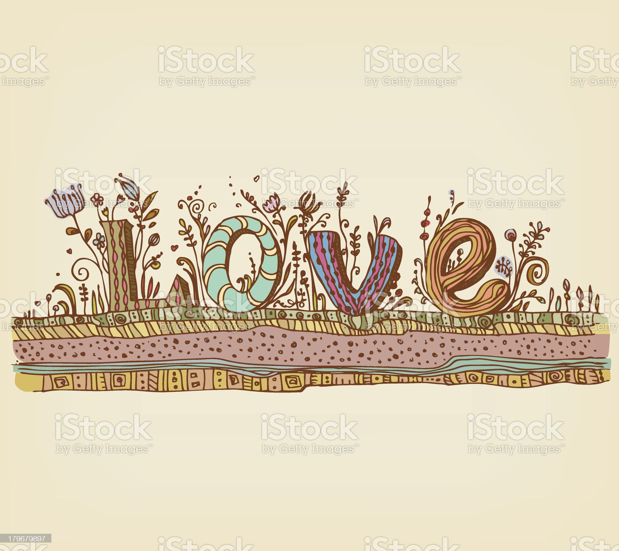 Illustration of decorative ornamental word LOVE with flowers and grass royalty-free stock vector art