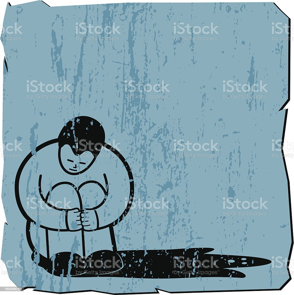 Illustration of depression with a solo man and a dark shadow vector art illustration