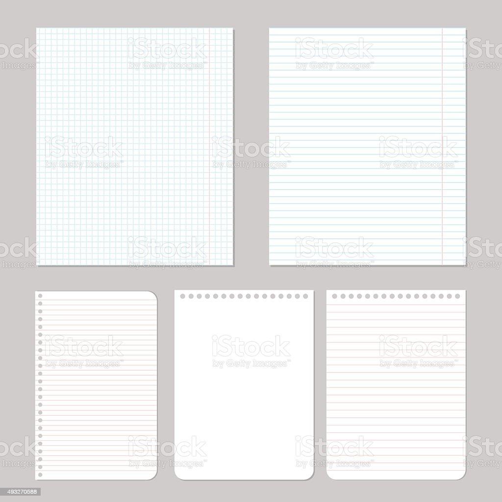Illustration of different notebook paper vector art illustration