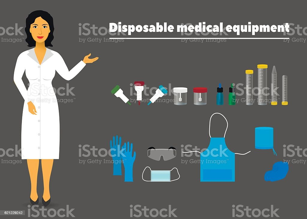 illustration of disposable medical equipment and a nurse vector art illustration
