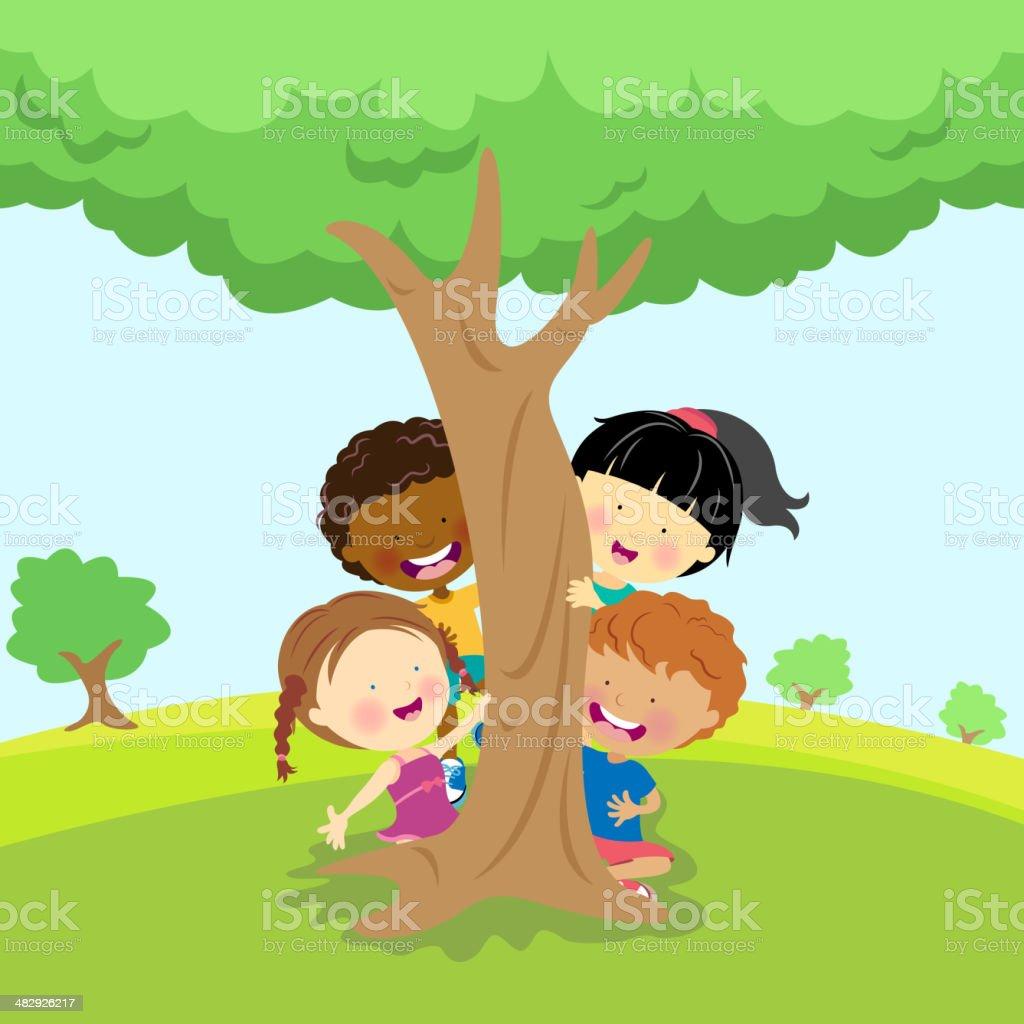 Illustration of diverse children behind a tree vector art illustration