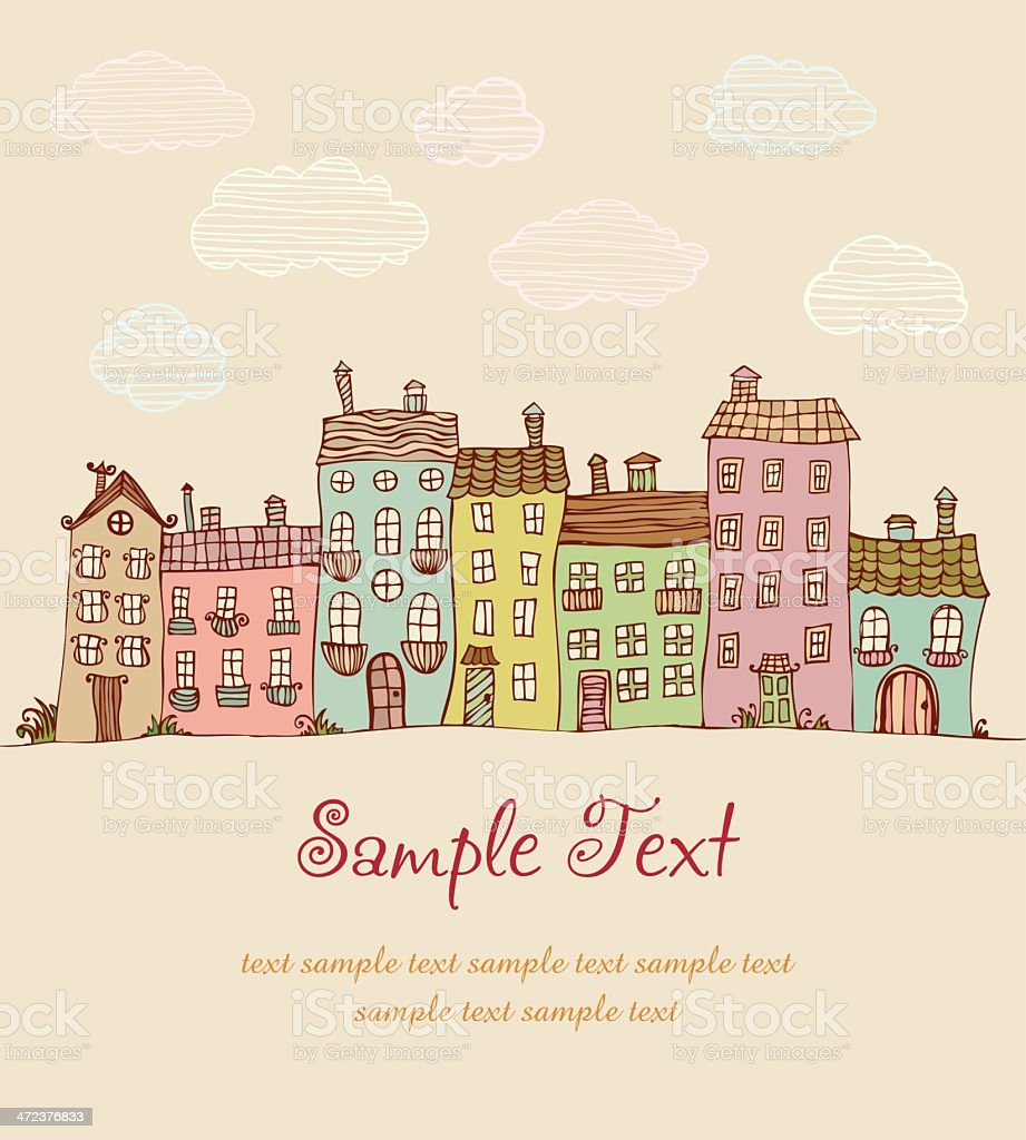 Illustration of doodle colorful houses royalty-free stock vector art