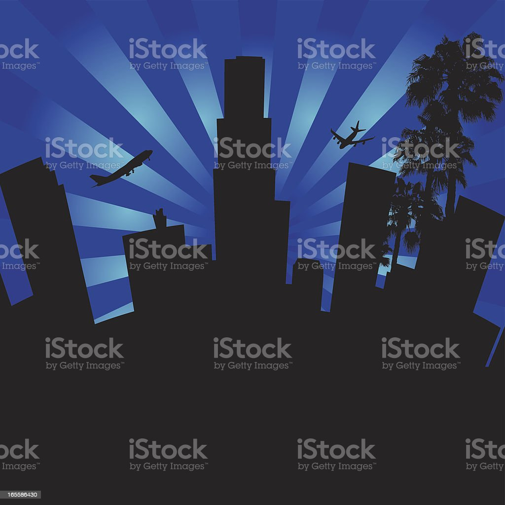 Illustration of Downtown Los Angeles California. royalty-free stock vector art