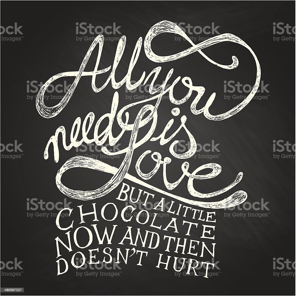Illustration of drawn love quotes on chalkboard vector art illustration