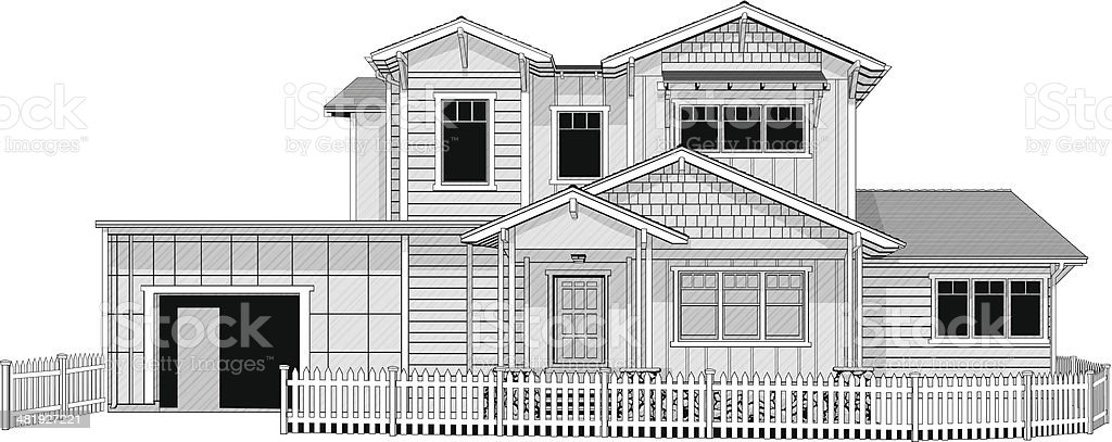 Illustration of dream home with white picket fence vector art illustration