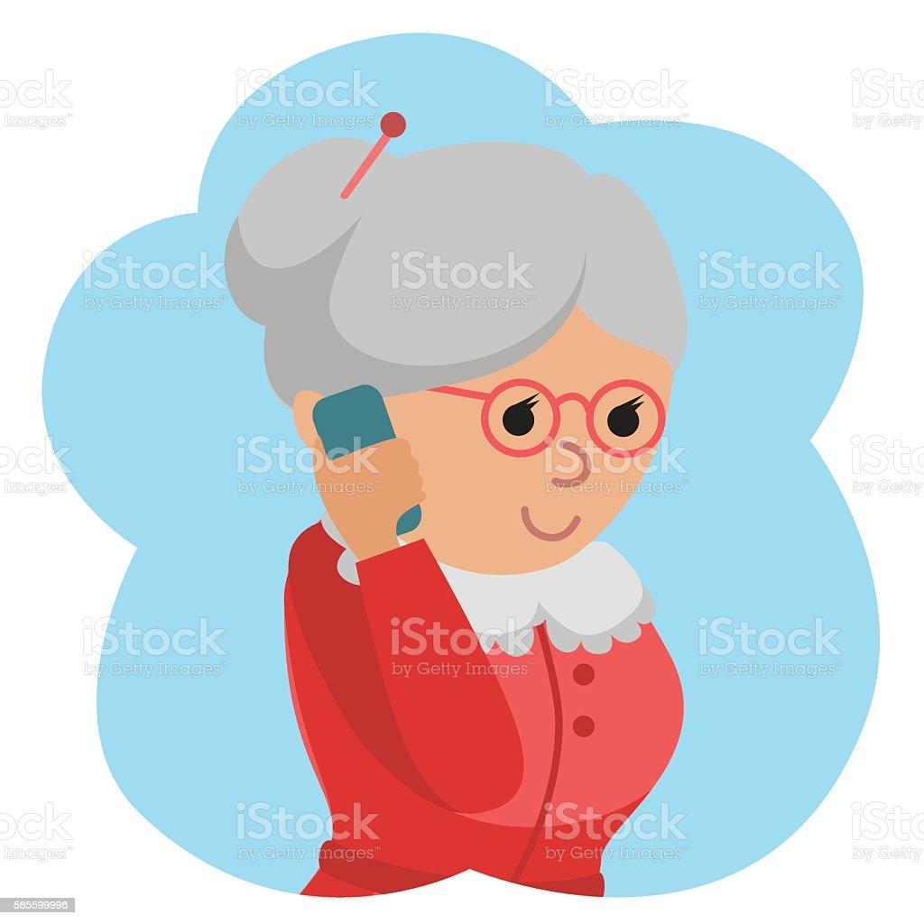Illustration of elderly woman use phone. vector art illustration