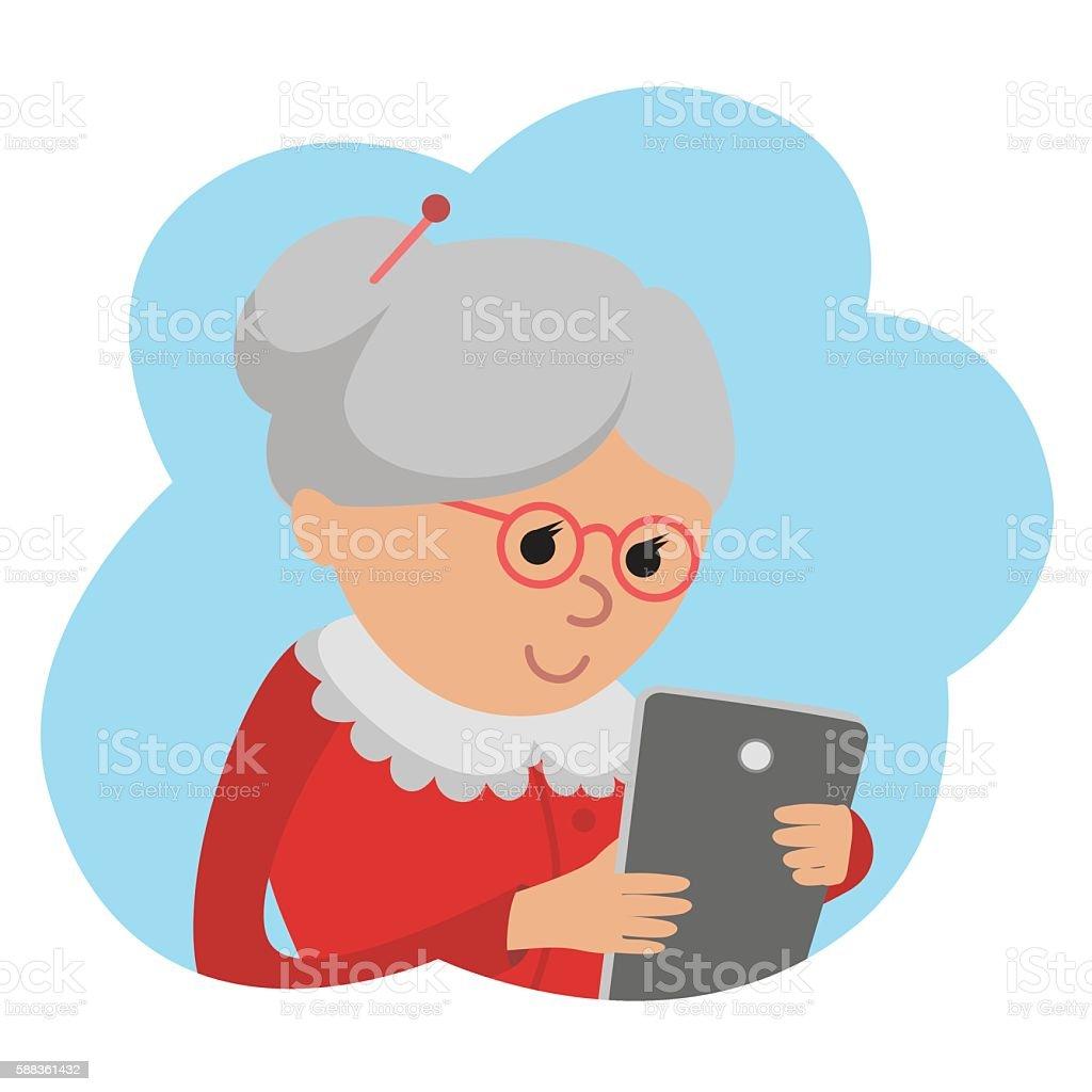 Illustration of elderly woman use tablet vector art illustration