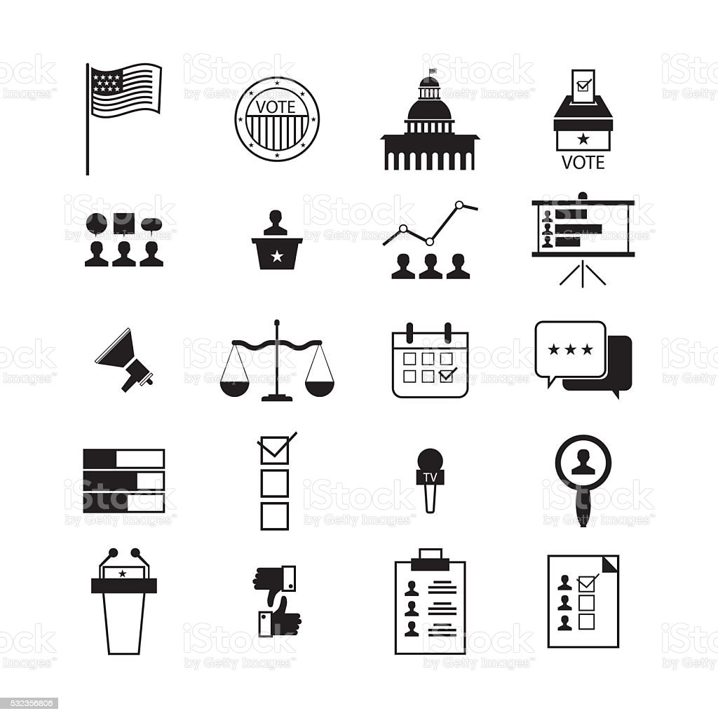 illustration of election and voting line icons set, politics icon vector art illustration