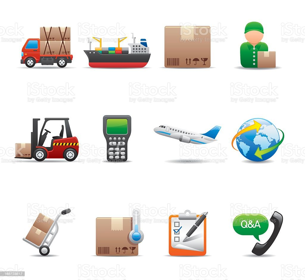 Illustration of elegant series logistics icons royalty-free stock vector art