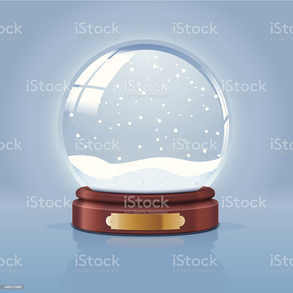 Illustration of empty snow globe on blue background vector art illustration