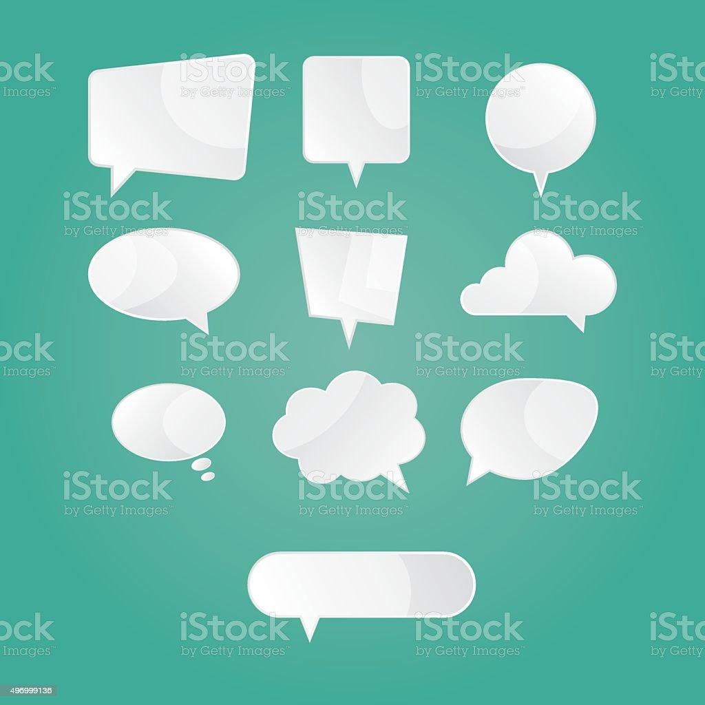 illustration of empty white speech dialog bubbles on green background vector art illustration