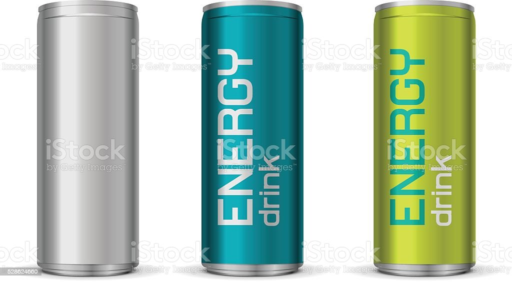 Illustration of energy drink cans vector art illustration