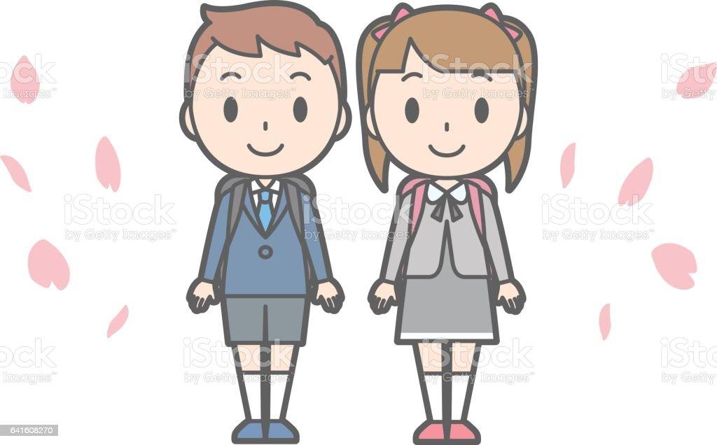 Illustration of entrance ceremony at elementary school vol.06 vector art illustration