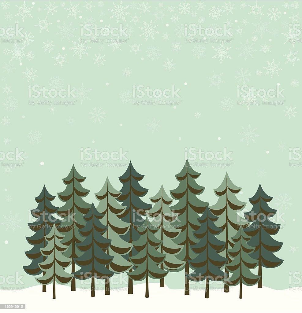 Illustration of evergreen trees in the winter vector art illustration
