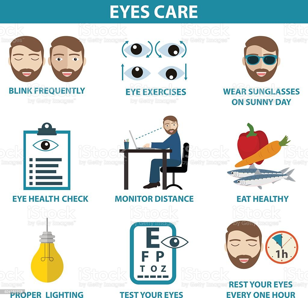 Illustration of eye care concept with icons and elements vector art illustration