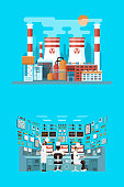 illustration of facade architecture nuclear power plant in flat style