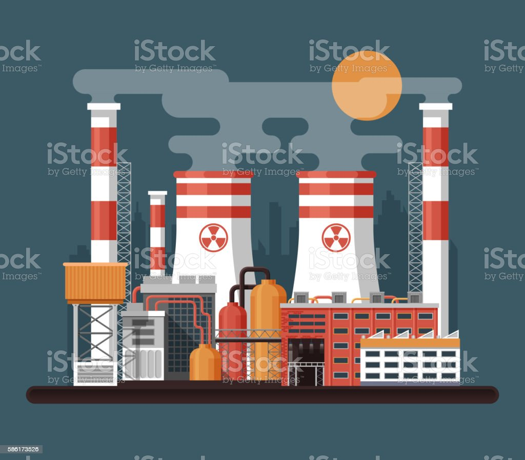 illustration of facade architecture nuclear power plant in flat style vector art illustration