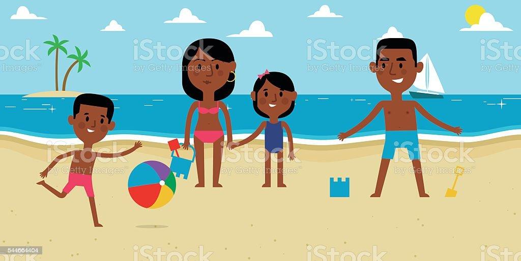Illustration Of Family Enjoying Beach Vacation Together vector art illustration