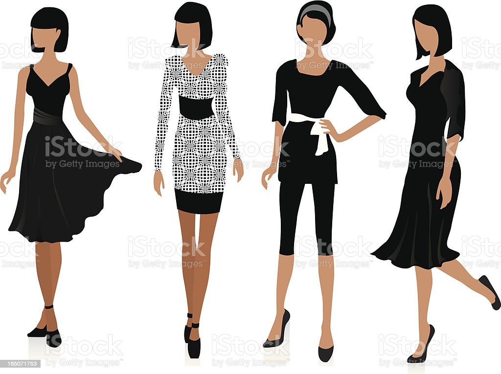 Illustration of fashion models posing next to each other vector art illustration