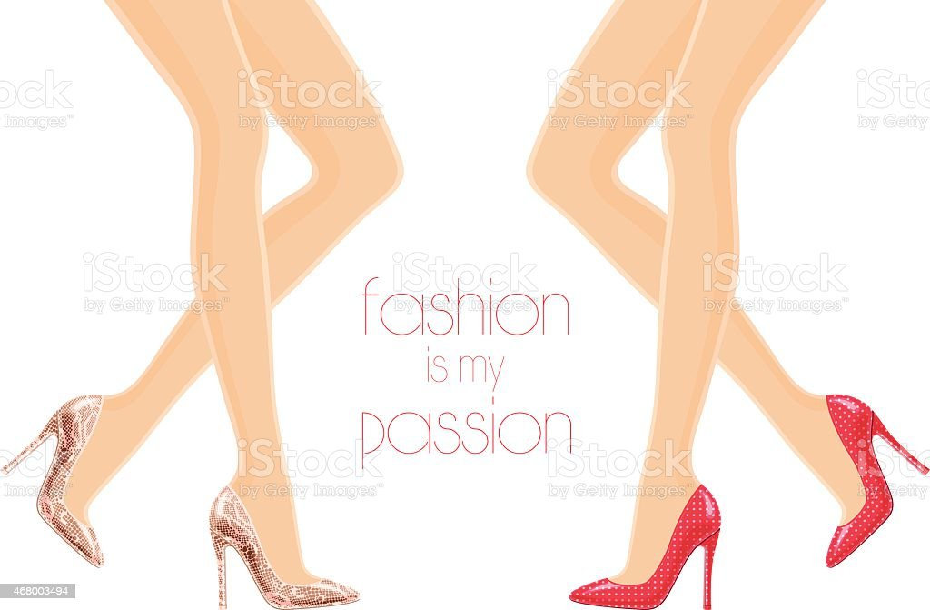 Illustration of female legs in high-heeled shoes vector art illustration