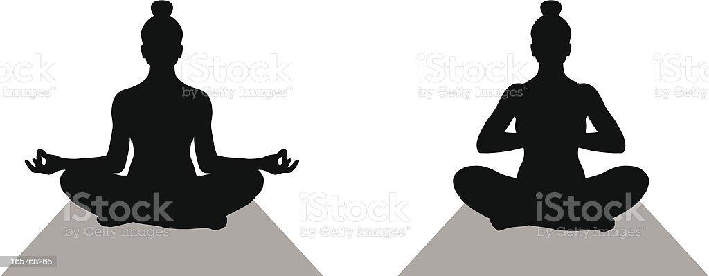 Illustration of female silhouette doing yoga royalty-free stock vector art