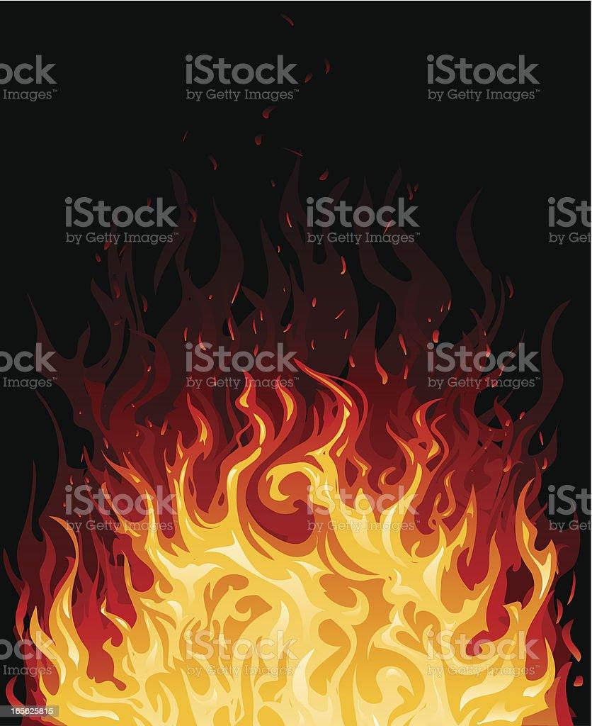 Illustration of fire in various shades of orange vector art illustration