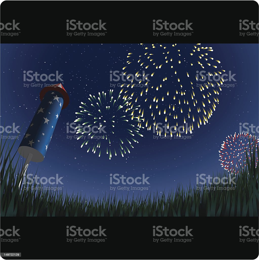 Illustration of fireworks in sky at night from ground view vector art illustration