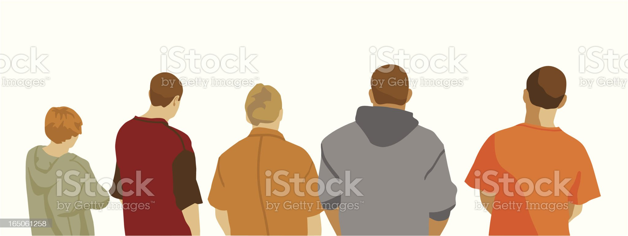 Illustration of five male youths seen from behind royalty-free stock vector art