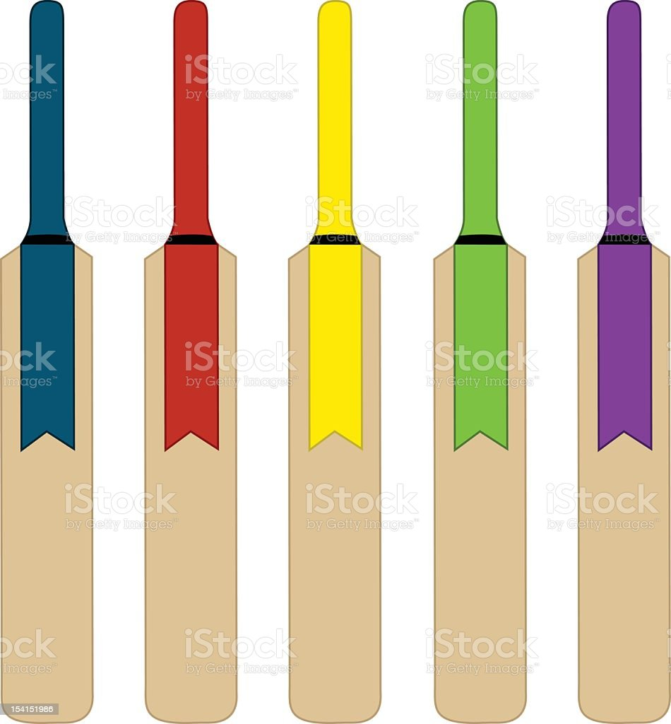 Illustration of five multicolored cricket bats on white vector art illustration