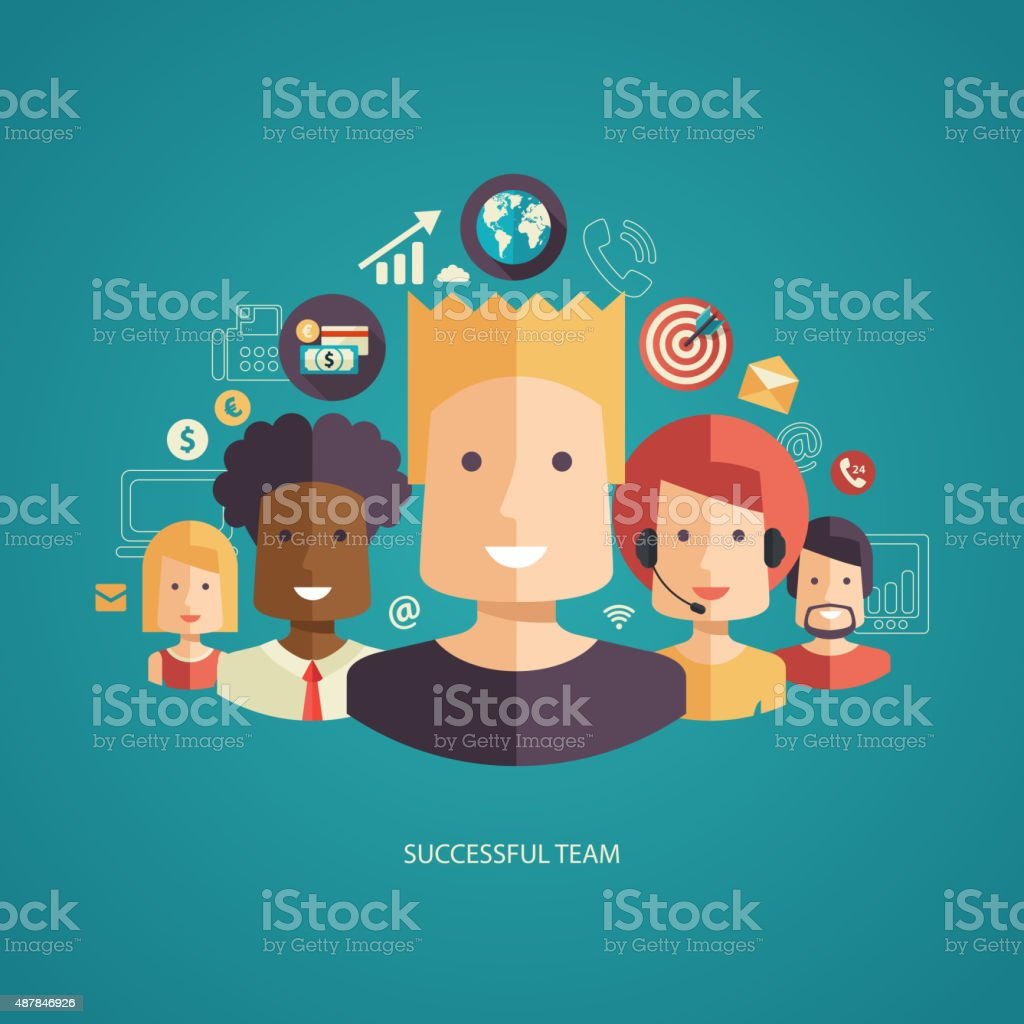 Illustration of flat design business composition with successful team vector art illustration