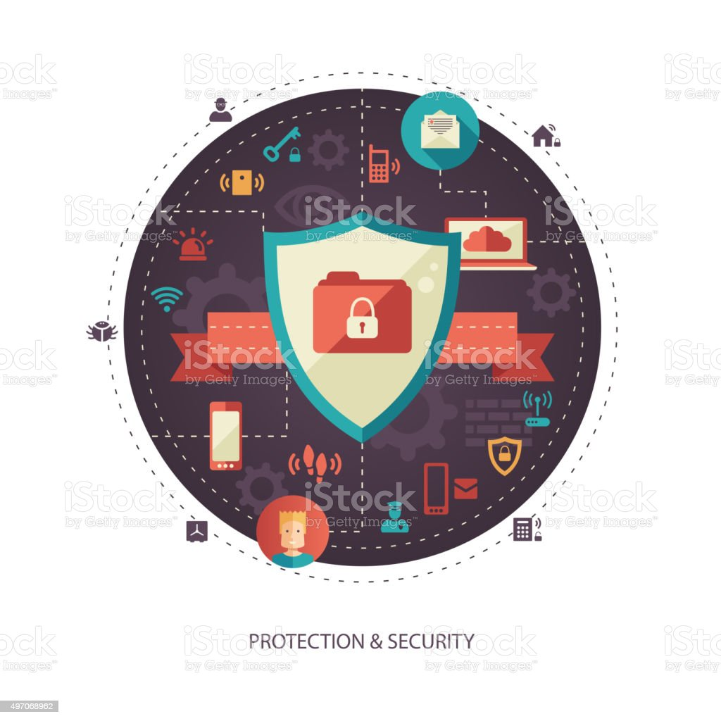 Illustration of flat design business illustration with security composition vector art illustration