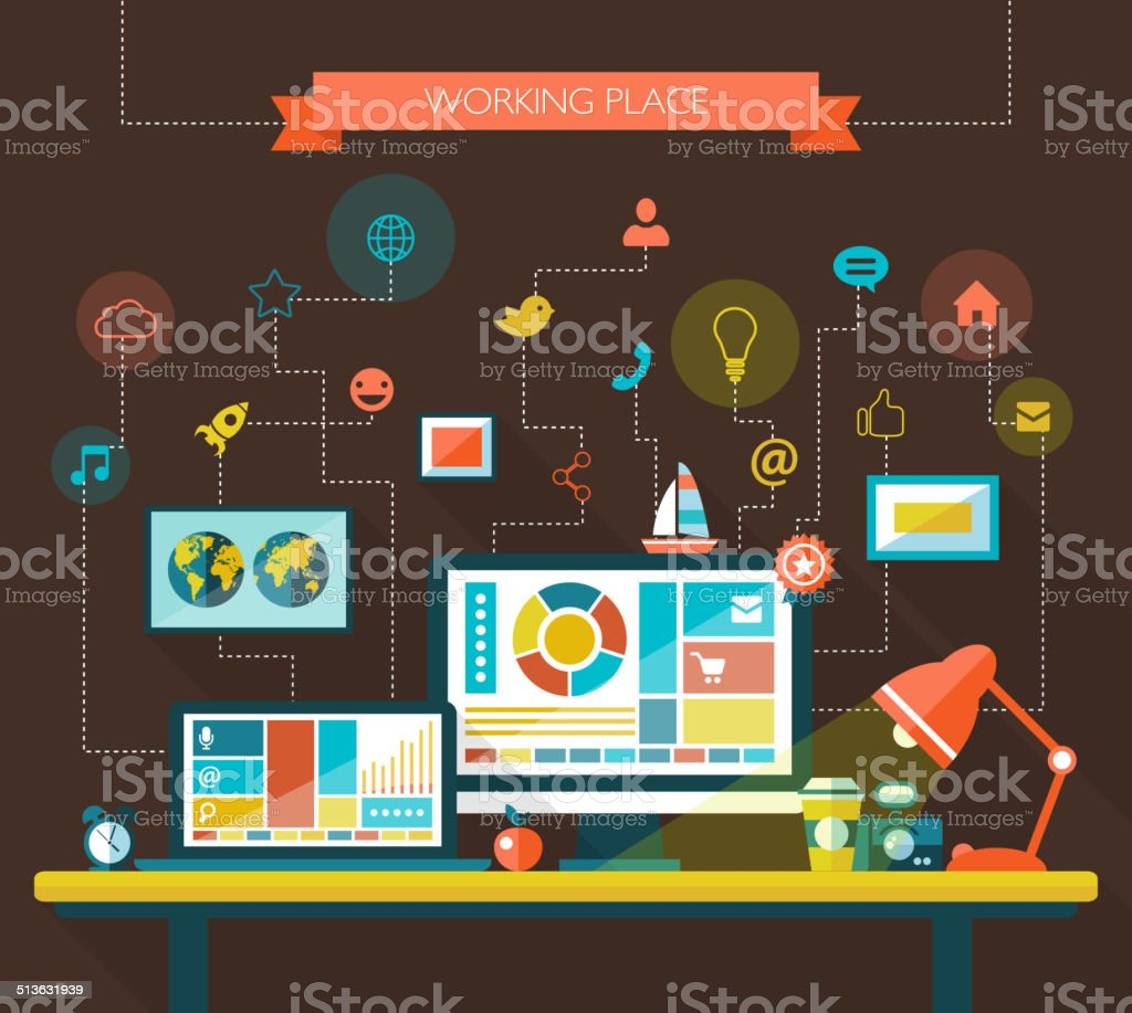 Illustration of flat design composition with work place vector art illustration