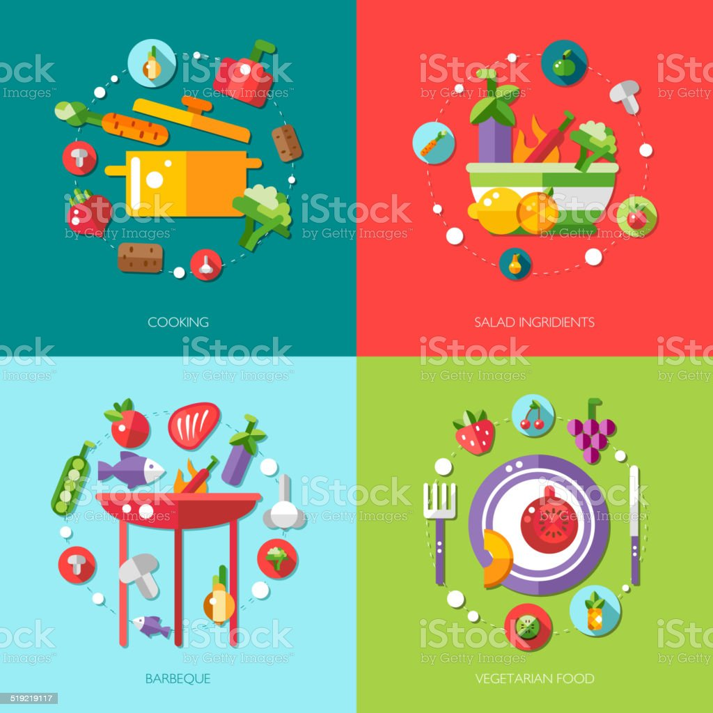 Illustration of flat design food, fruits and vegetables icons co vector art illustration