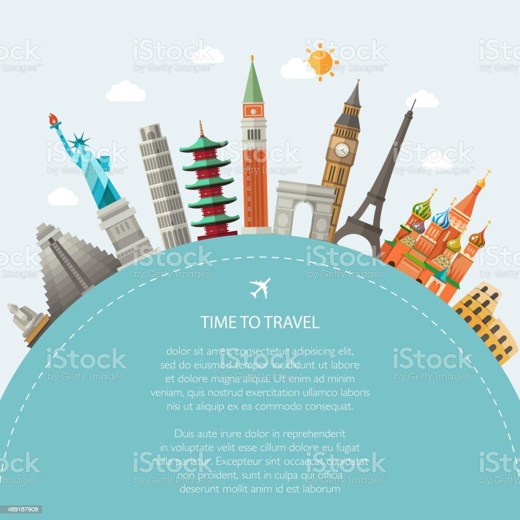 Illustration  of flat design postcard with famous world landmarks icons vector art illustration