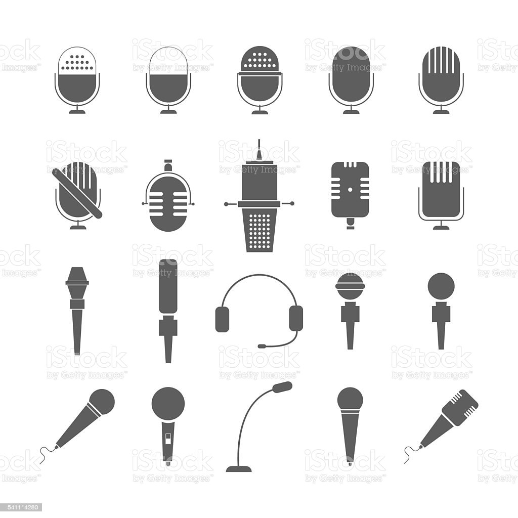 illustration of flat grey microphone icon set vector art illustration