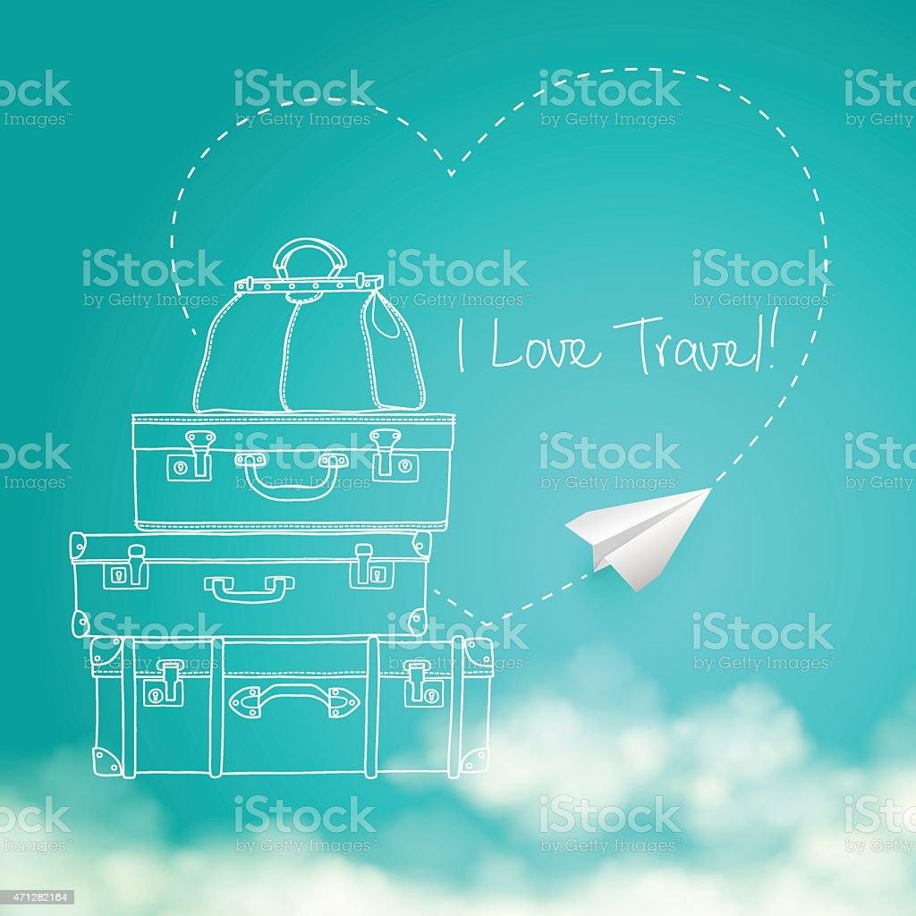 Ilustração de livro de Avião voando no céu ao redor de malas de viagem vetor e ilustração royalty-free royalty-free