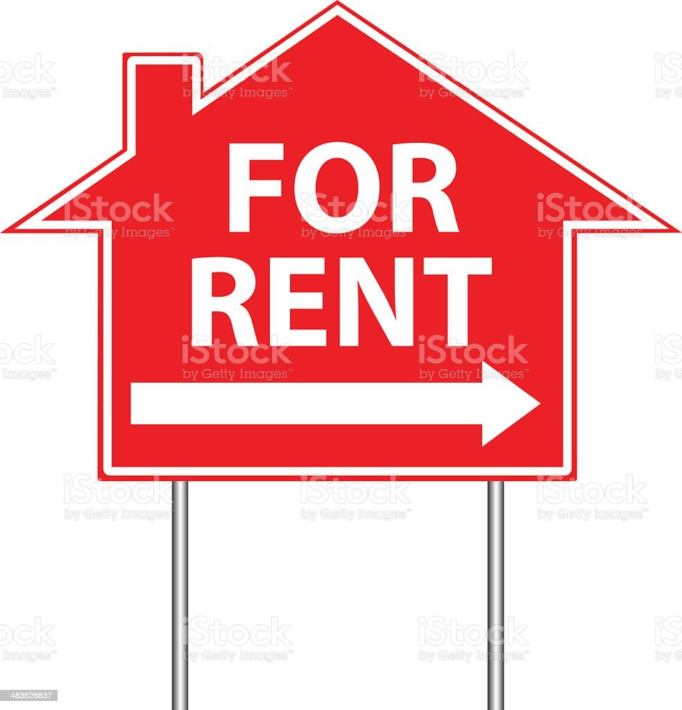 Illustration of For Rent sign on white background royalty-free stock vector art