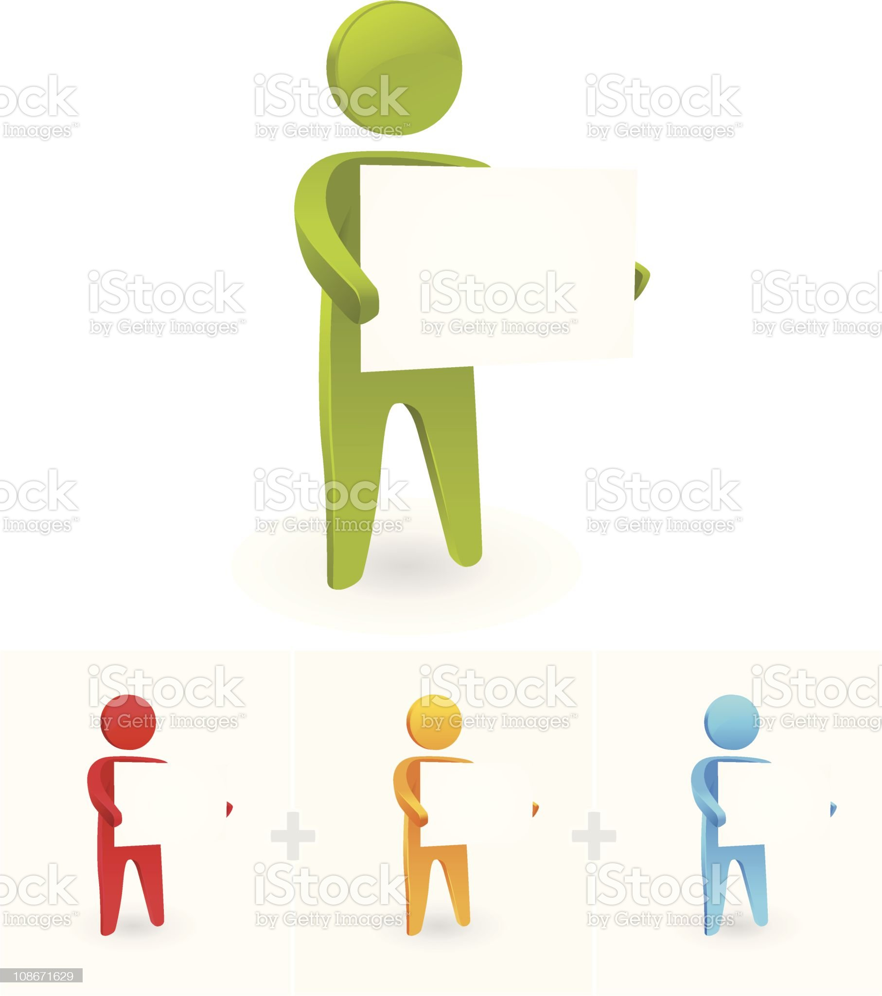 Illustration of four stick figures holding blank signs royalty-free stock vector art
