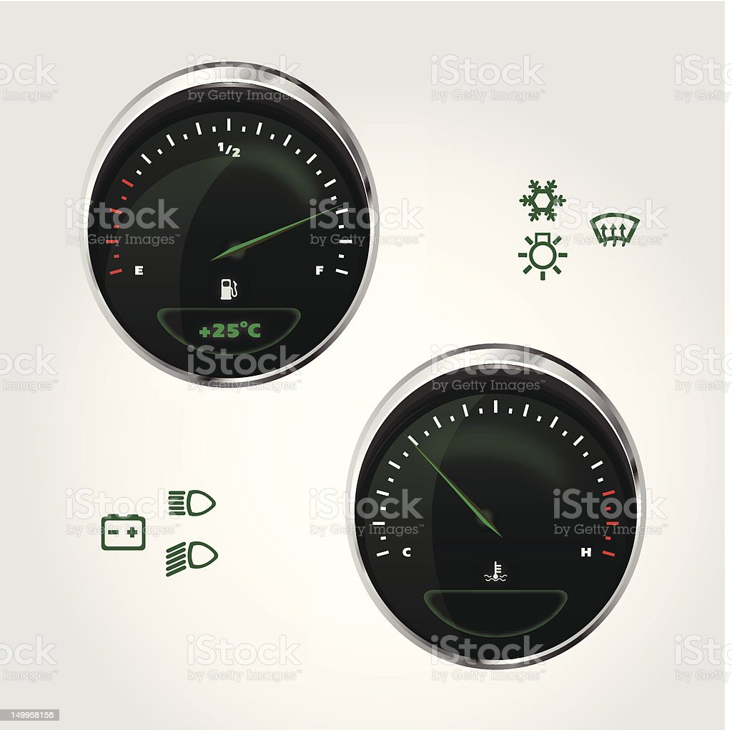 Illustration of fuel and temperature control dashboard car royalty-free stock vector art