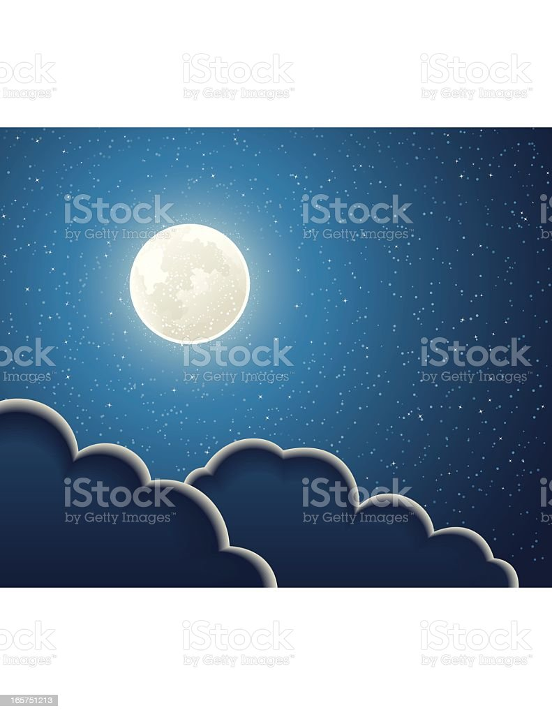 Illustration of full moon and clouds in a sky of stars royalty-free stock vector art